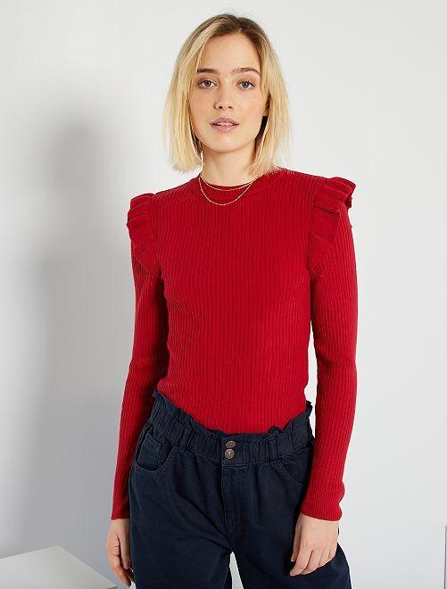 Geribde trui met volants                                                                 rood