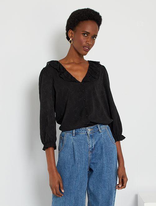 Gesatineerde overhemdbloes met kant                             zwart