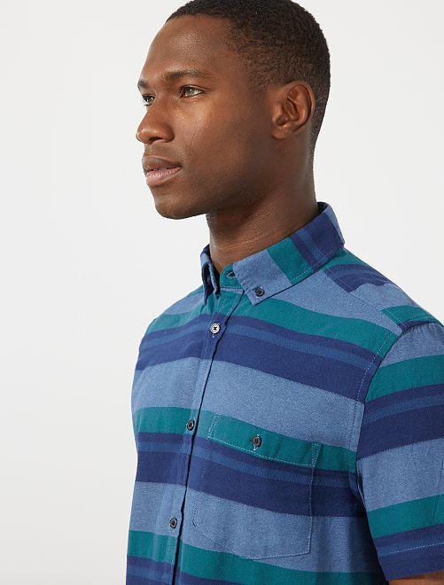 Gestreept overhemd van 100% katoen                     GROEN Herenkleding