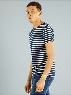 Heren t-shirts - Gestreept T-shirt van tricot