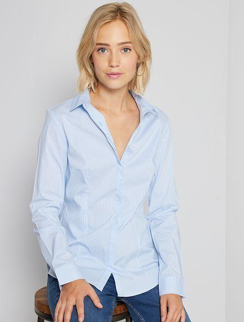 Getailleerde blouse van stretch katoen                                         blauw gestreept