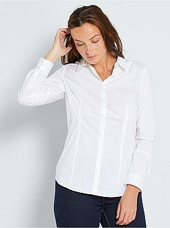 Blouse - Getailleerde blouse van stretch katoen