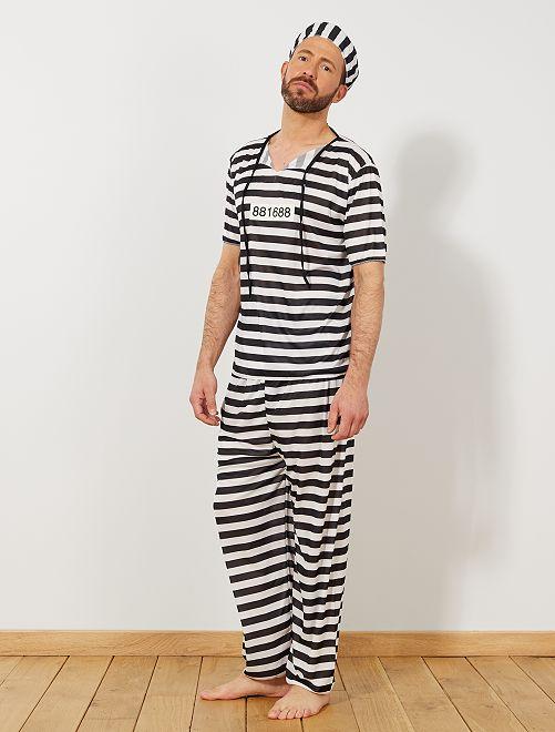 Gevangene-verkleedkostuum                             wit / zwart Heren