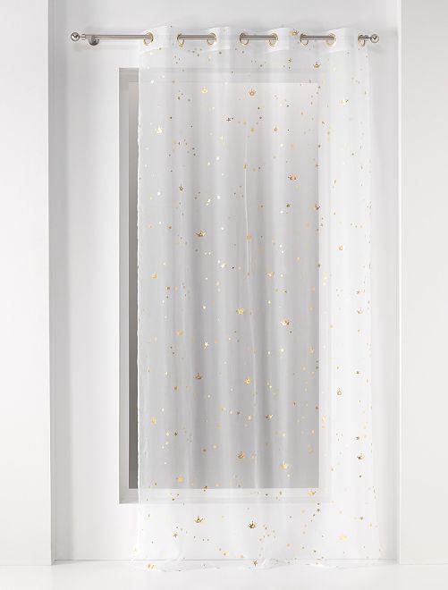 Glasgordijn met goudkleurige details                             wit