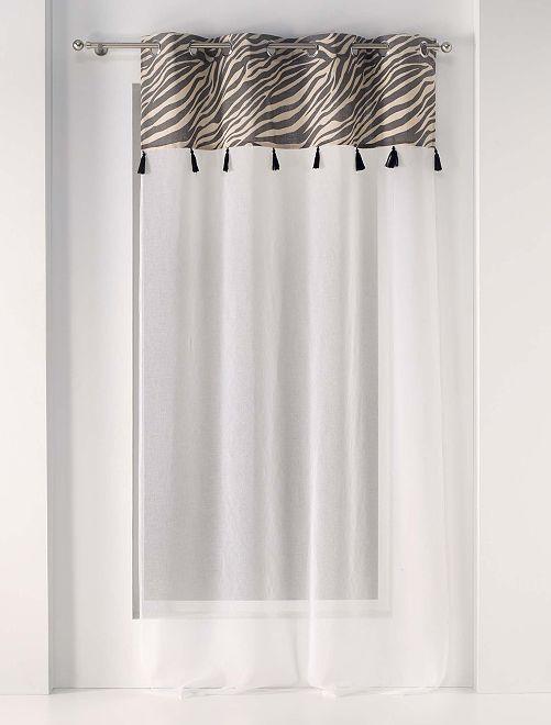 Glasgordijn met ringen en print                             BIEGE