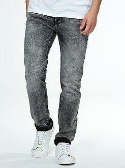 Denim - Grijze slimfit jeans met verwassen effect