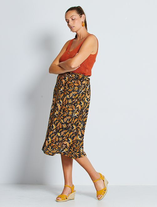 Halflange rok met print en knoopsluiting                             ZWART