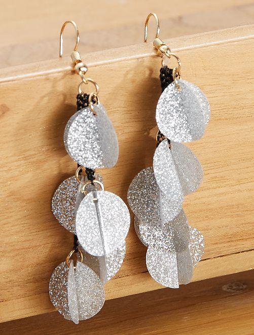 Hangende oorbellen met pailletten                     GRIJS