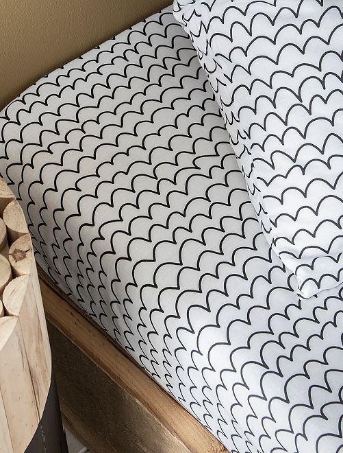 Hoeslaken voor 1-persoonsbed met print                             wit / zwart
