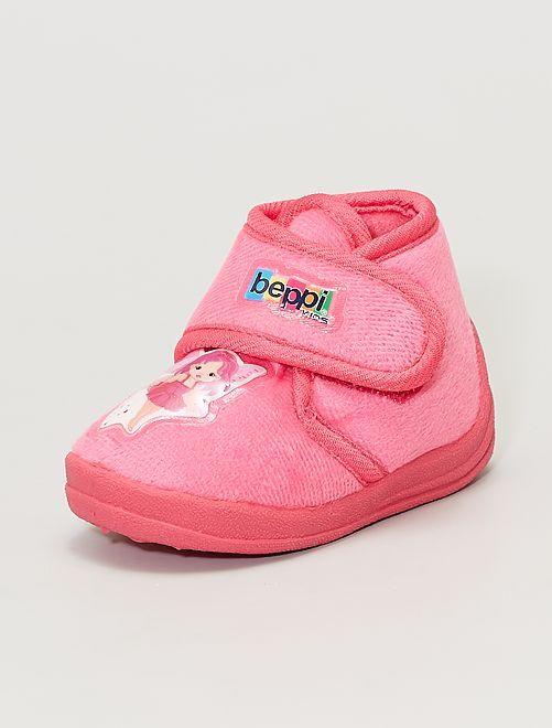 Hoge pantoffels van zachte ratine 'fee'                             roze