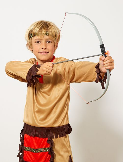 Indianenset met een pijl en boog en een mes                             grijs / bruin Kinderkleding jongens
