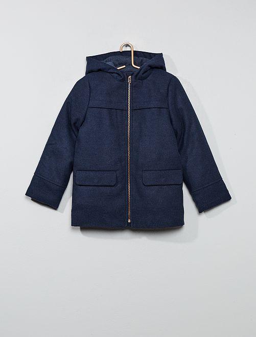 Jas van synthetische wol                             donkerblauw Kinderkleding jongens