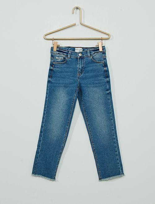 Jeans van stretchkatoen met sterrenprint                                                     BLAUW