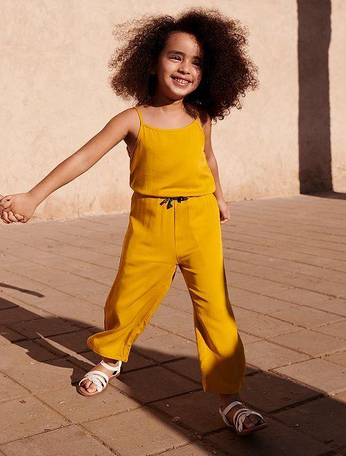 Jumpsuit met smalle bandjes                                         brons geel