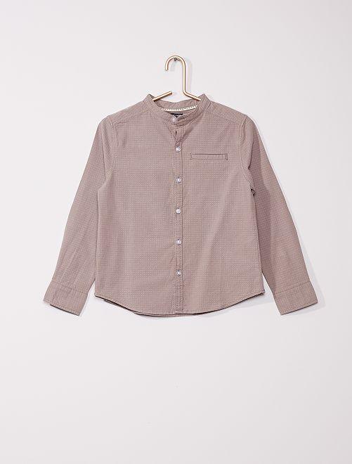 Katoenen hemd met maokraag                                         grijs