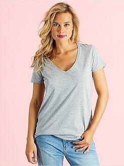 T-shirt - Katoenen T-shirt met V-hals