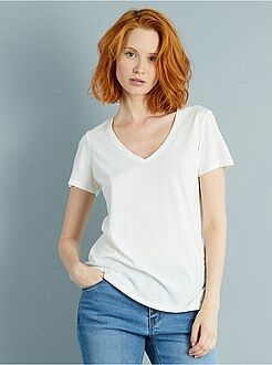 Damesmode maat 34-48 Katoenen T-shirt met V-hals