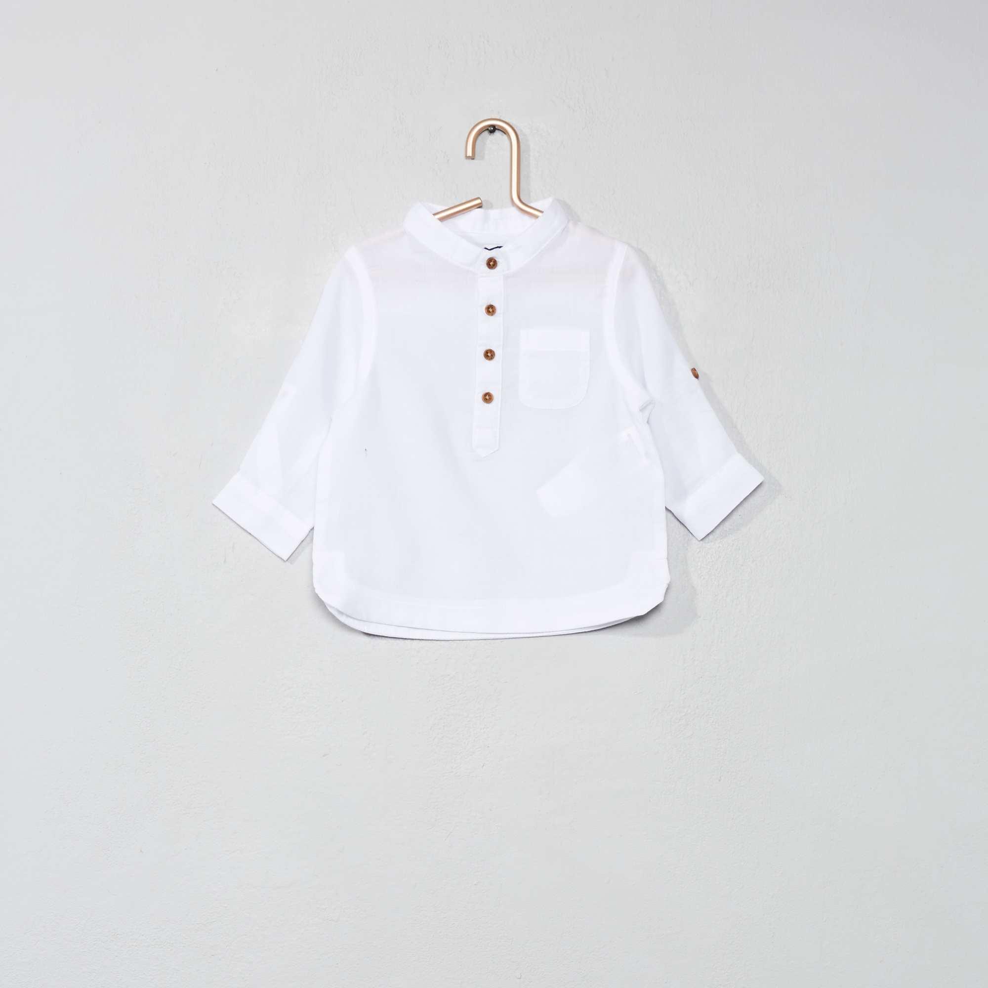 Katoenvoile overhemd met een kraag in