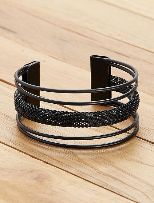 Klemarmband met verschillende niveaus                                         zwart