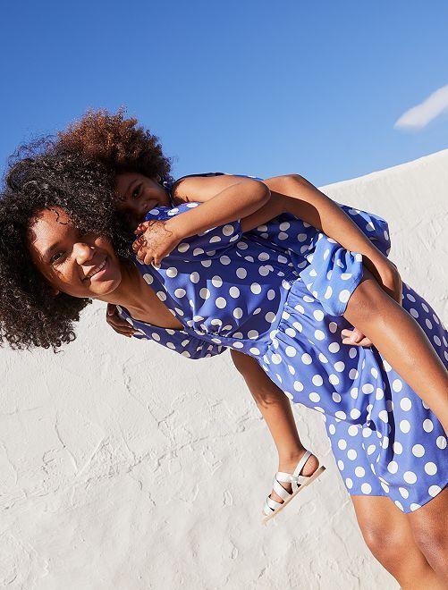 Korte jurk met print                                                                 BLAUW