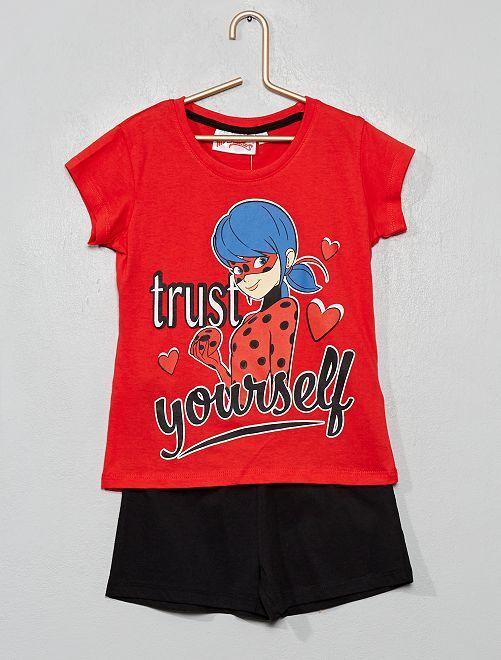 Korte pyjama van 'Miraculous'                                                     rood / zwart