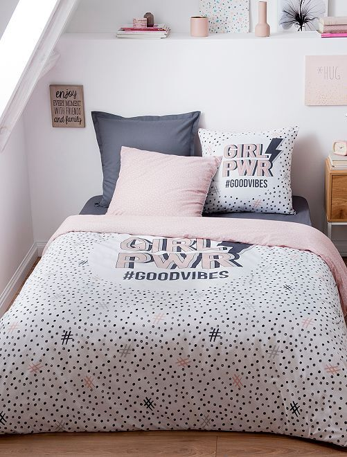 Lakenset voor 2-persoonsbed                             blauw / roze