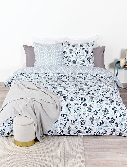 Lakenset voor 2-persoonsbed                             wit / blauw