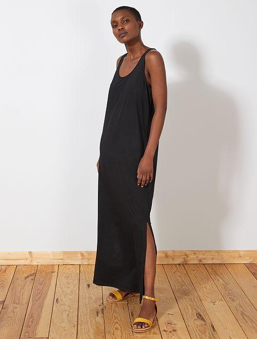 Lange jurk zonder mouwen                                                                 zwart Dameskleding