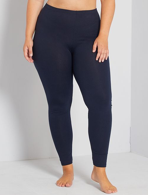 Lange, katoenen stretch legging                                         blauw Dames size+