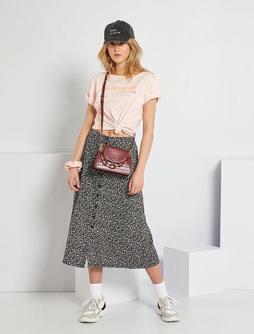 Lange rok met bloemenprint                             zwarte print