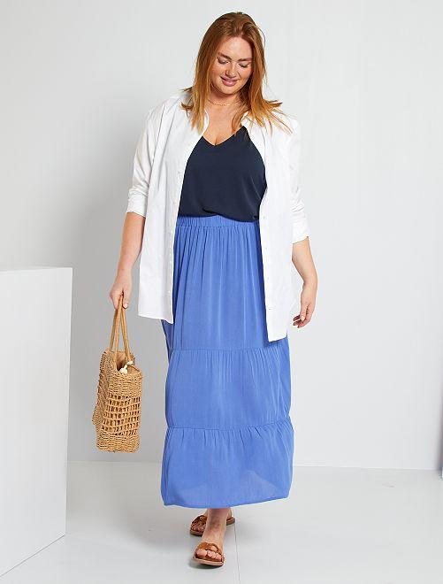 Lange rok van crepon uit viscose                     blauw