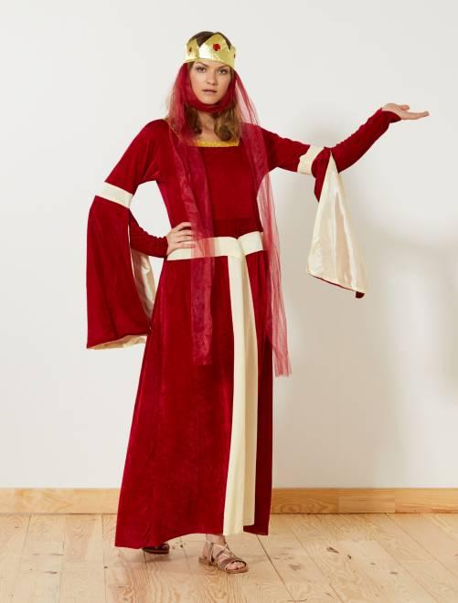 Middeleeuws prinsessenkostuum                             rood