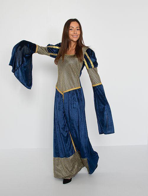 Middeleeuwse koningin verkleedkleding                             BLAUW