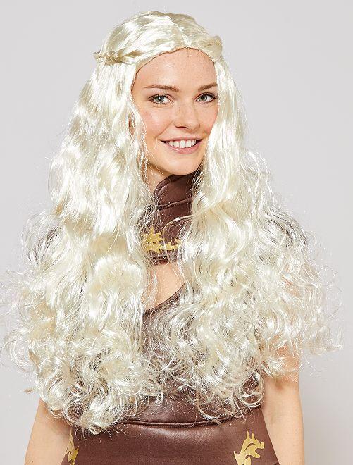 Middeleeuwse pruik met lang haar                             wit