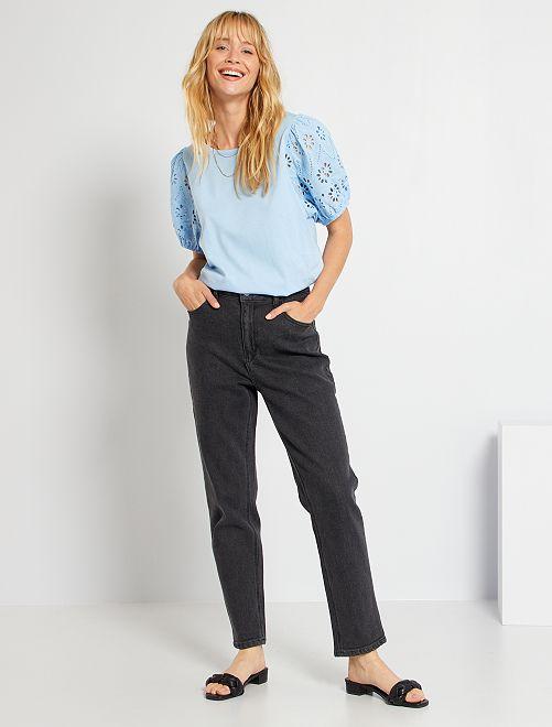 Mom jeans met extra hoge taille                                                                             GRIJS