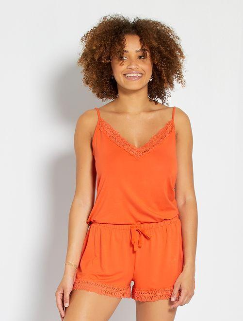 Mouwloze top met smalle bandjes                                                     oranje