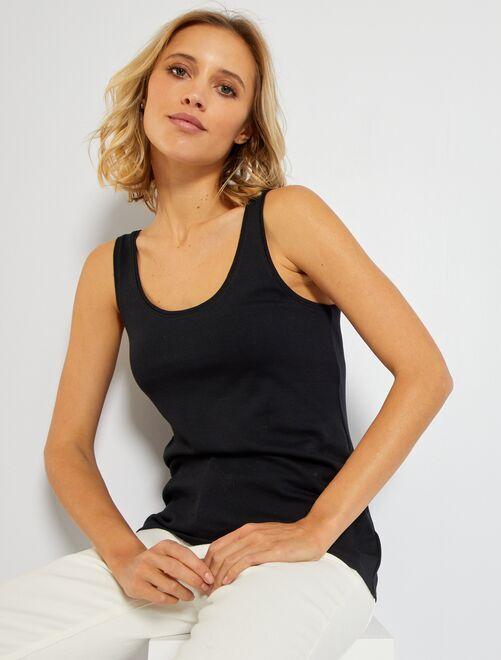 Mouwloze top met U-hals 'Ecodesign'                                                                                                                                                     zwart