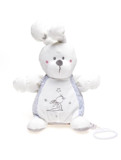 Muziekknuffel konijn                                                     wit / grijs