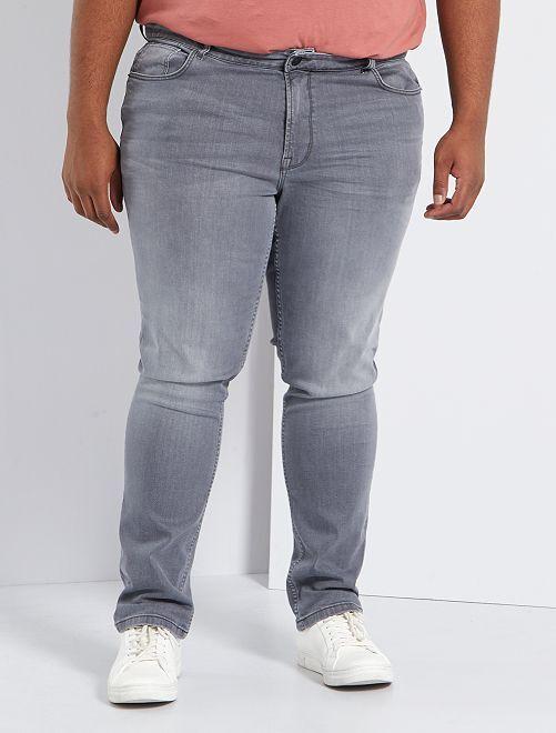 Nauwsluitende jeans van stretchkatoen L32                                                                                         GRIJS