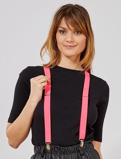 Neonkleurige bretels                                                                 roze neon