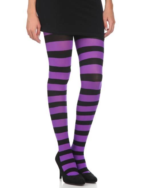 Ondoorschijnende panty's met strepen                                                                 zwart / paars