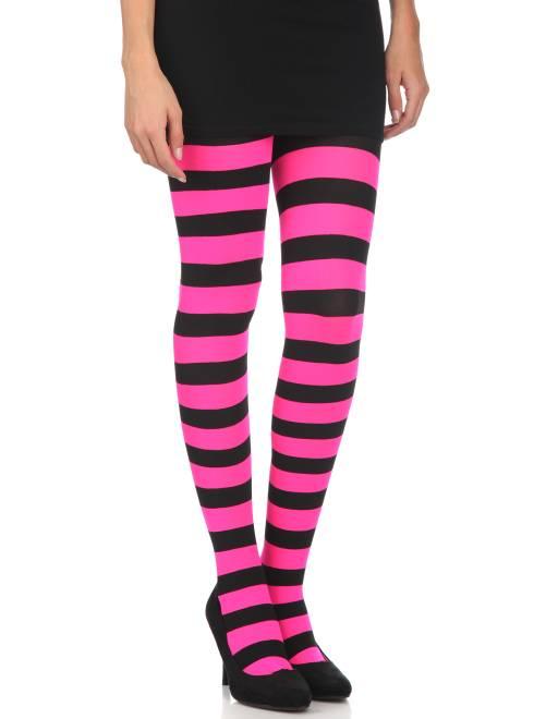 Ondoorschijnende panty's met strepen                                                                 zwart / roze