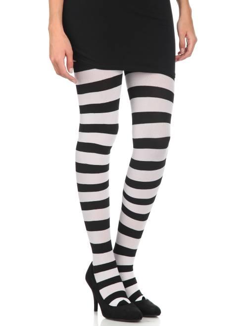 Ondoorschijnende panty's met strepen                                                                 zwart / wit Accessoires