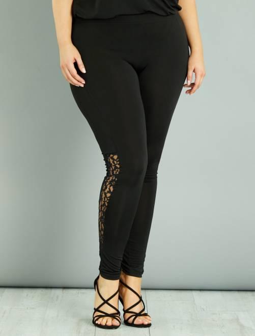 Opengewerkte kanten legging                             zwart
