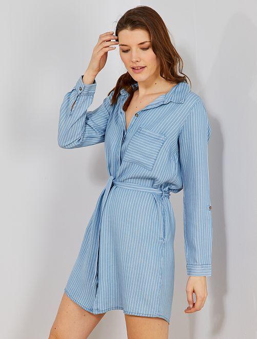 95f186c006a6b8 Overhemd-jurk met riem Dameskleding - BLAUW - Kiabi - 20