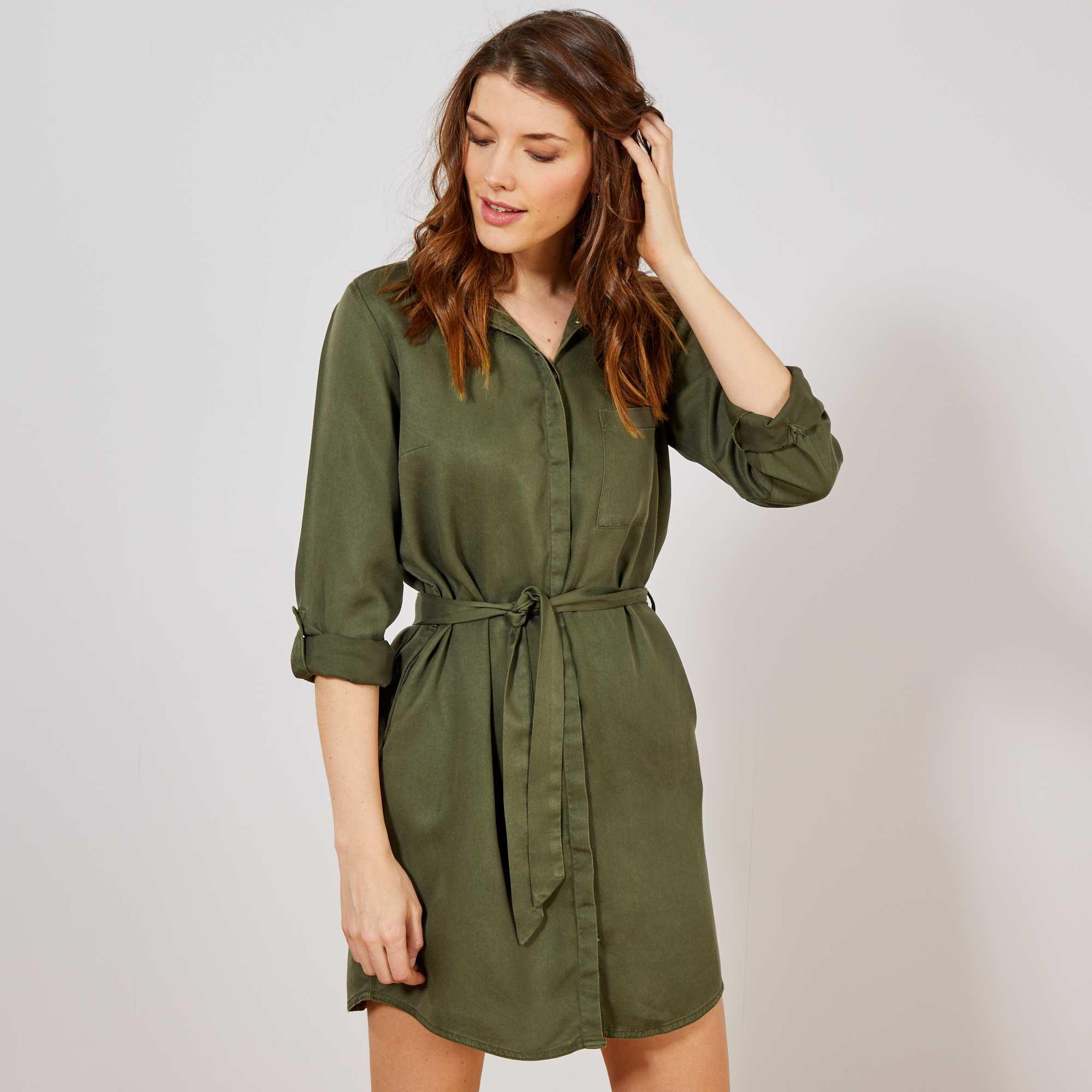 57a2ea19e4992c Overhemd-jurk met riem Dameskleding - KAKI - Kiabi - 20