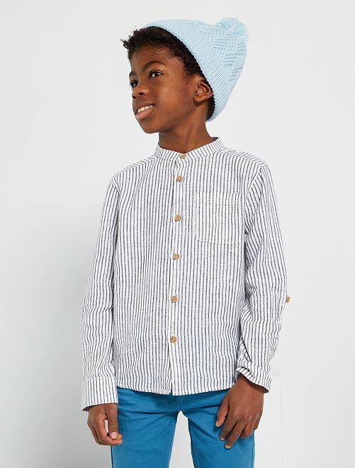 Overhemd met maokraag                                                     BLAUW