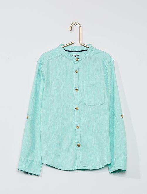 Overhemd met maokraag                                                                 GROEN