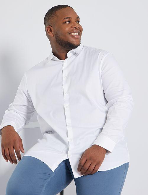 Overhemd van stretch twill                                                     wit