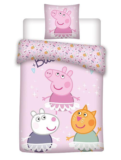 'Peppa Pig'-lakenset voor 1-persoonsbed                             roze